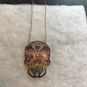 Multicolored Crystal Skull Necklace